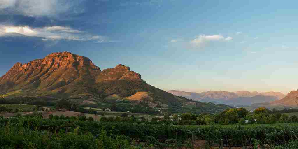 Sunset over the Simonsberg from Delaire Graff Estate