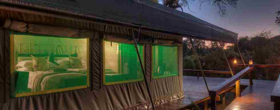 Simbavati River Tented suite at night.jpg