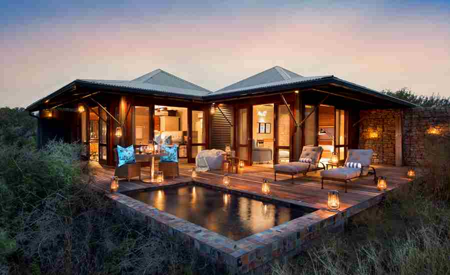 Kwandwe Ecca Lodge suite exterior eve