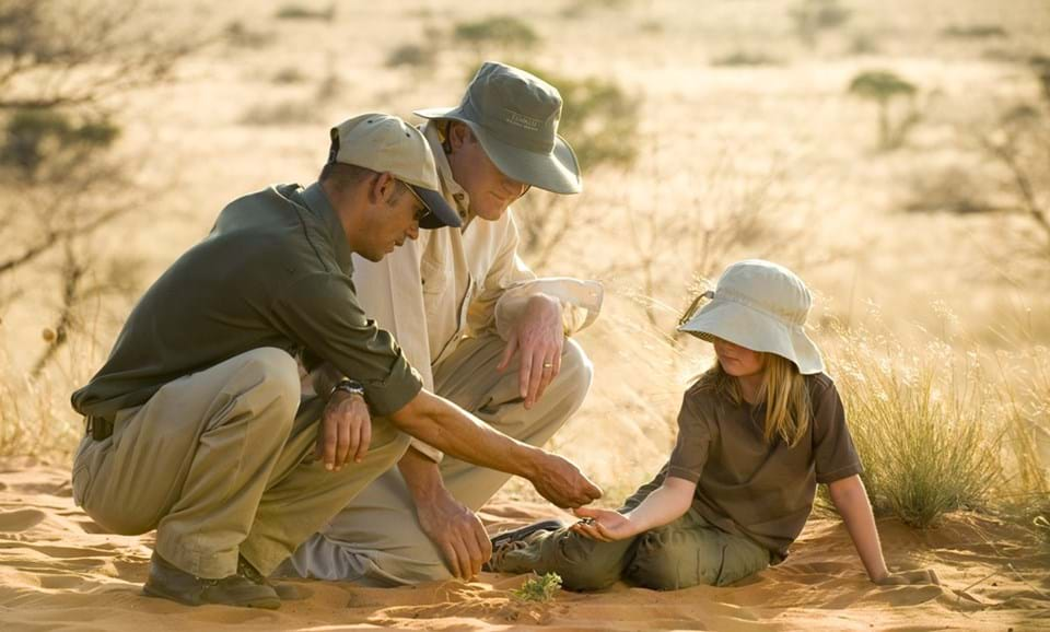 Tacking on Foot with Children at Tswalu Kalahari as part of the Junior Ranger Programme