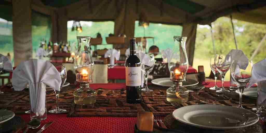 Safari tent dining