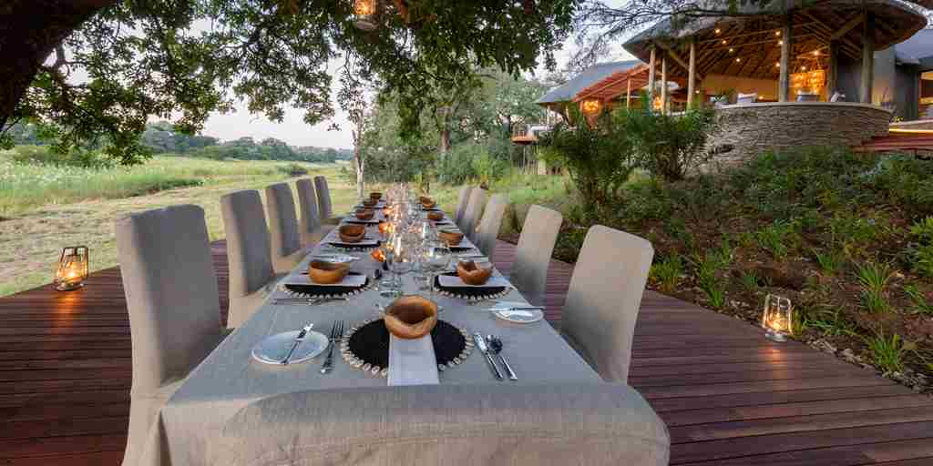 Dulini River Lodge deck dining