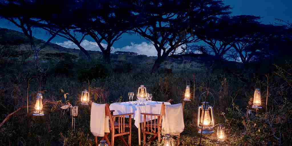 Candel lit dinner Tanzania Safari