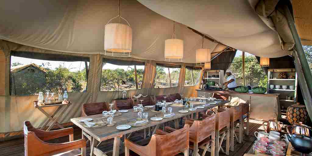 linyanti expeditions botswana camp dining room
