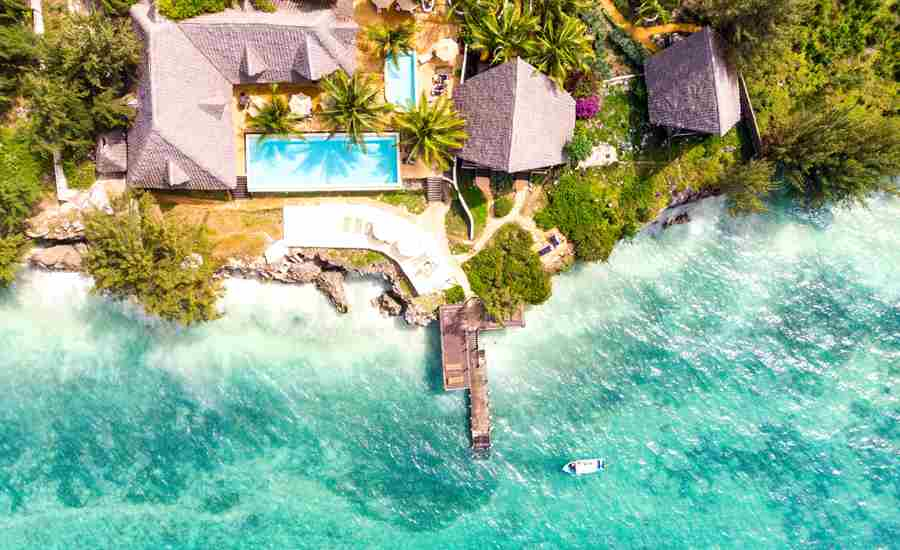 sunshine marine lodge tanzania birds eye view
