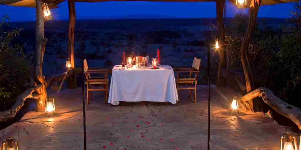 private dining basecamp eagle view kenya yellow zebra safaris
