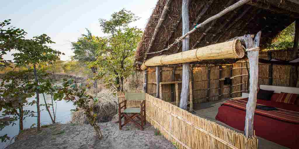 Mwaleshi Camp chalet entrance zambia yellow zebra safaris