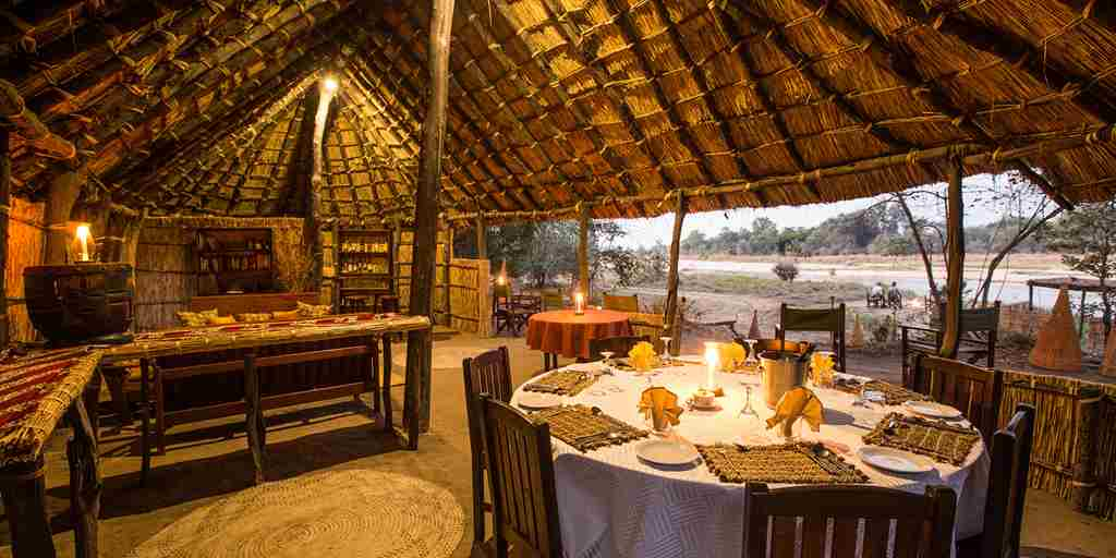 Mwaleshi Camp dining area zambia yellow zebra safaris