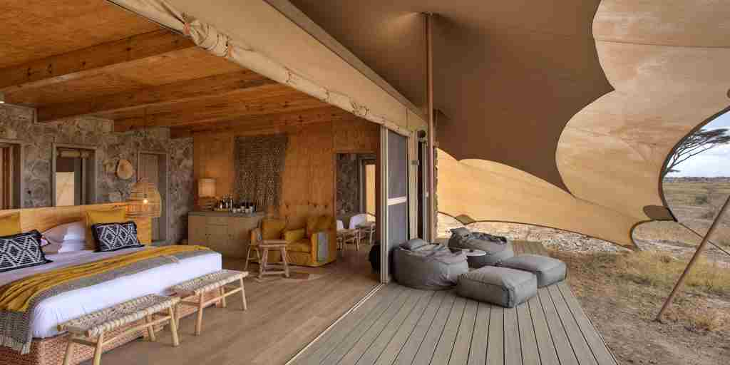 family tent room deck namiri plains tanzania yellow zebra safaris