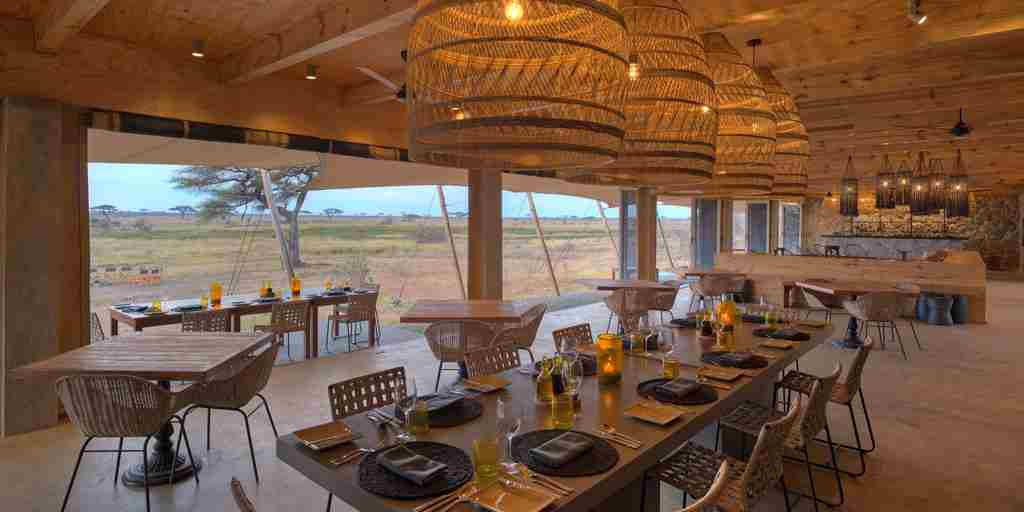 main dining area namiri plains tanzania yellow zebra safaris