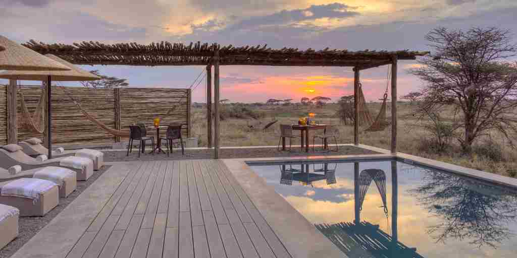 pool private dining area namiri plains tanzania yellow zebra safaris