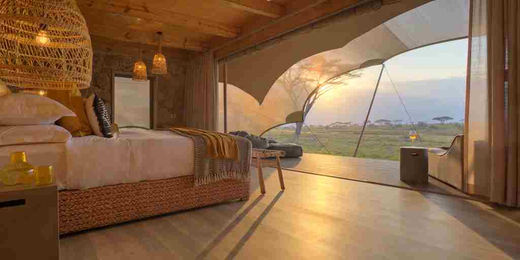 tent interior sunset namiri plains tanzania yellow zebra safaris