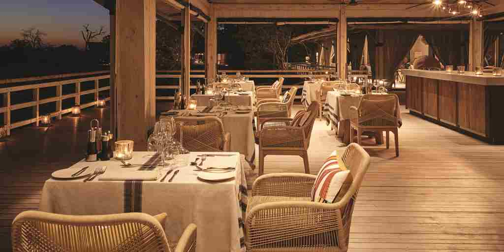 belmond savute elephant lodge dining room botswana yellow zebra safaris