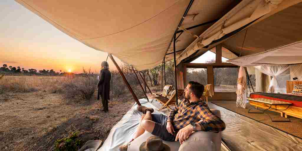 Kwihala camp sunset tanzania yellow zebra safaris