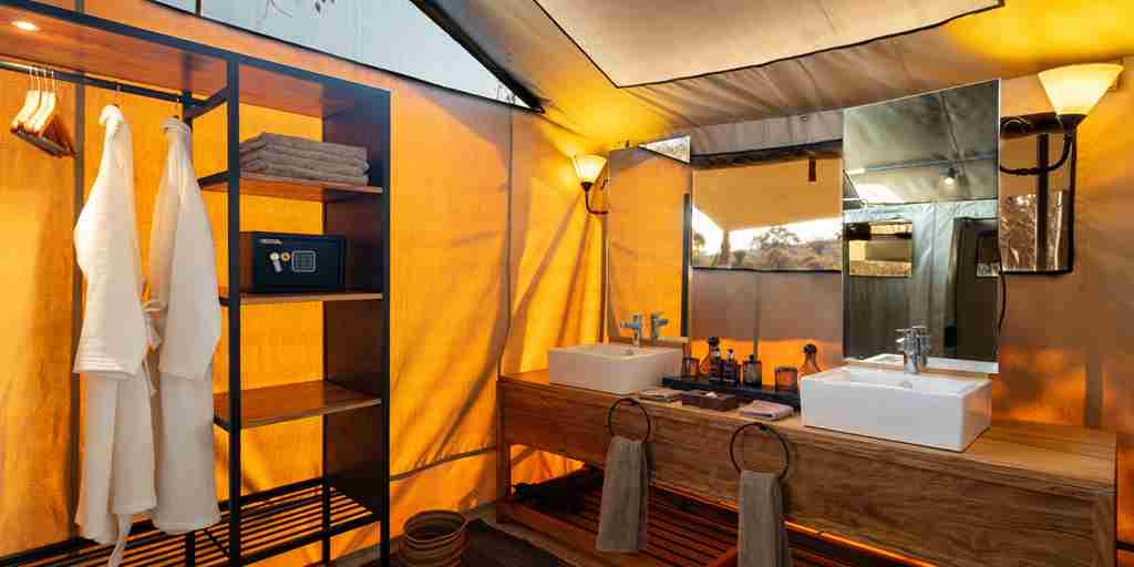 Kwihala camp bathroom tanzania yellow zebra safaris