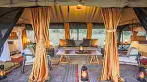 legendary serengeti camp tanzania lounge exterior yellow zebra safaris