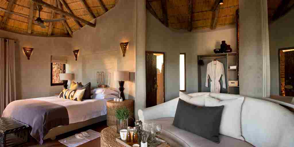 madikwe kopano lodge south africa double bedroom yellow zebra safaris