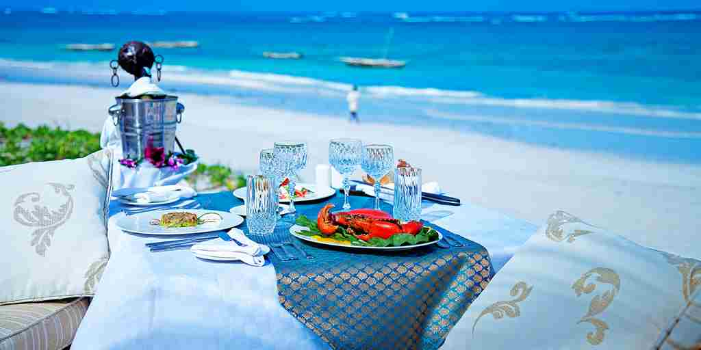 afrochic diana beach kenya beach lunch yellow zebra safaris