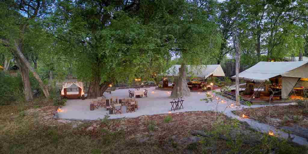 selinda explorers camp main area botswana yellow zebra safaris