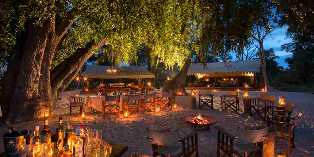 selinda explorers camp night view botswana yellow zebra safaris