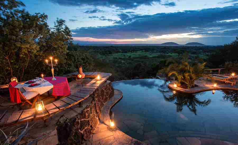 ol donyo lodge pool view kenya yellow zebra safaris