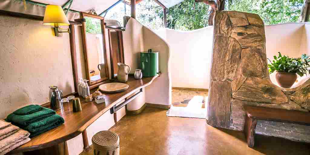 kitich forest camp bathroom kenya yellow zebra safaris
