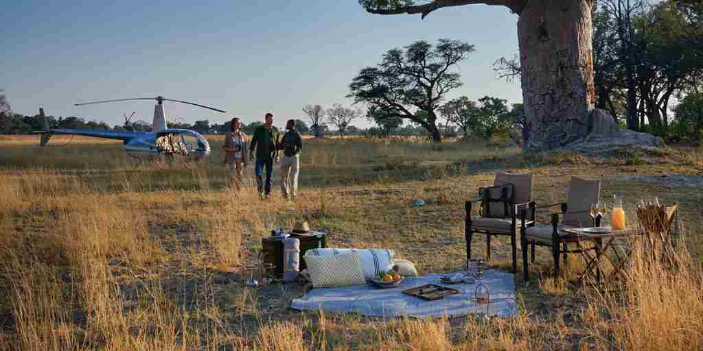belmond eagle bush picnic exterior view botswana yellow zebra safaris