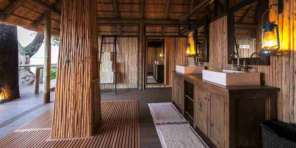 chamilandu bush camps bathroom zambia yellow zebra safaris