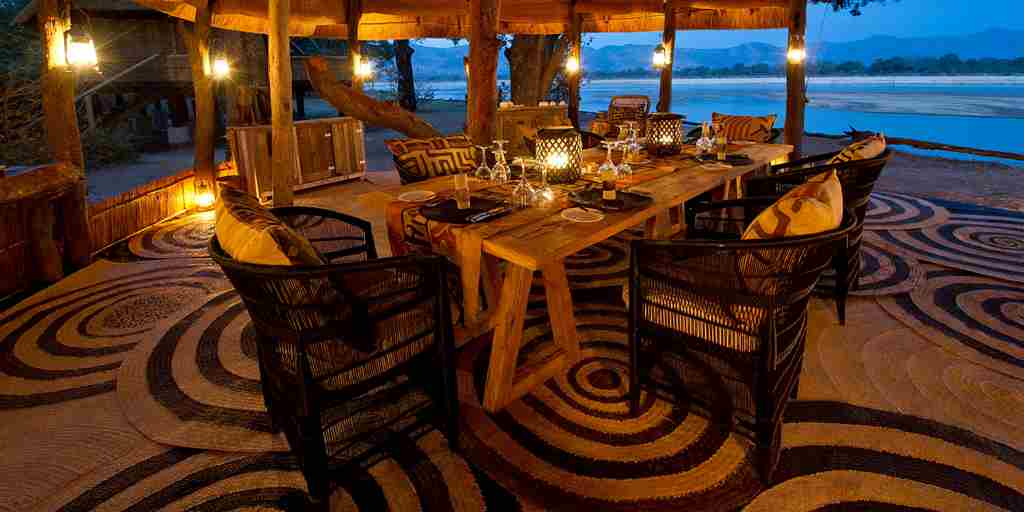 chamilandu bush camps dining area zambia yellow zebra safaris