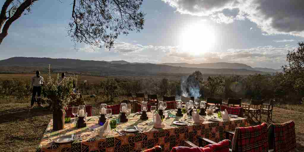 chui lodge kenya bush dinner yellow zebra safaris