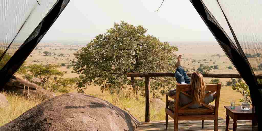 lamai serengeti guest room decking tanzania yellow zebra safaris