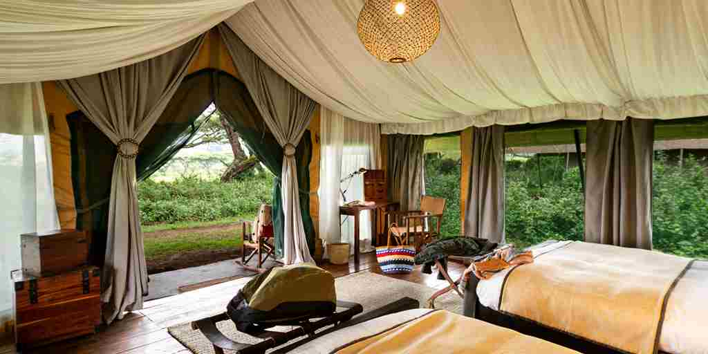 lemala ngorongoro twin room tanzania yellow zebra safaris