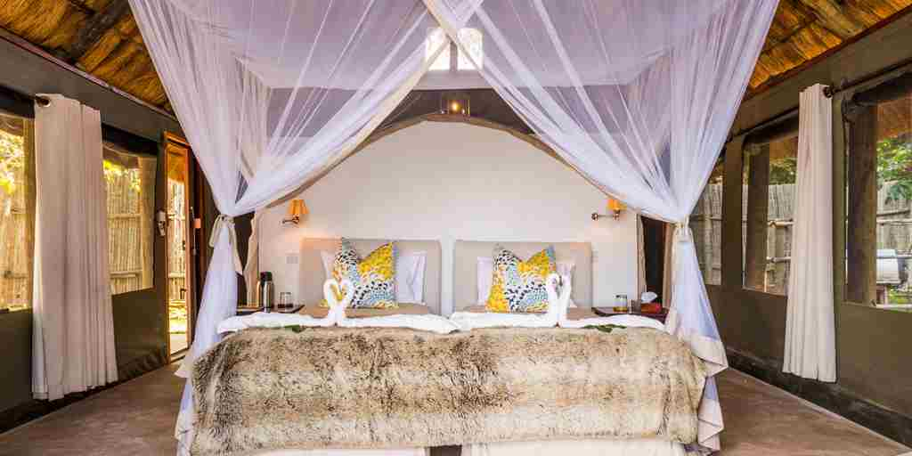 royal zambezi lodge double bed zambia yellow zebra safaris