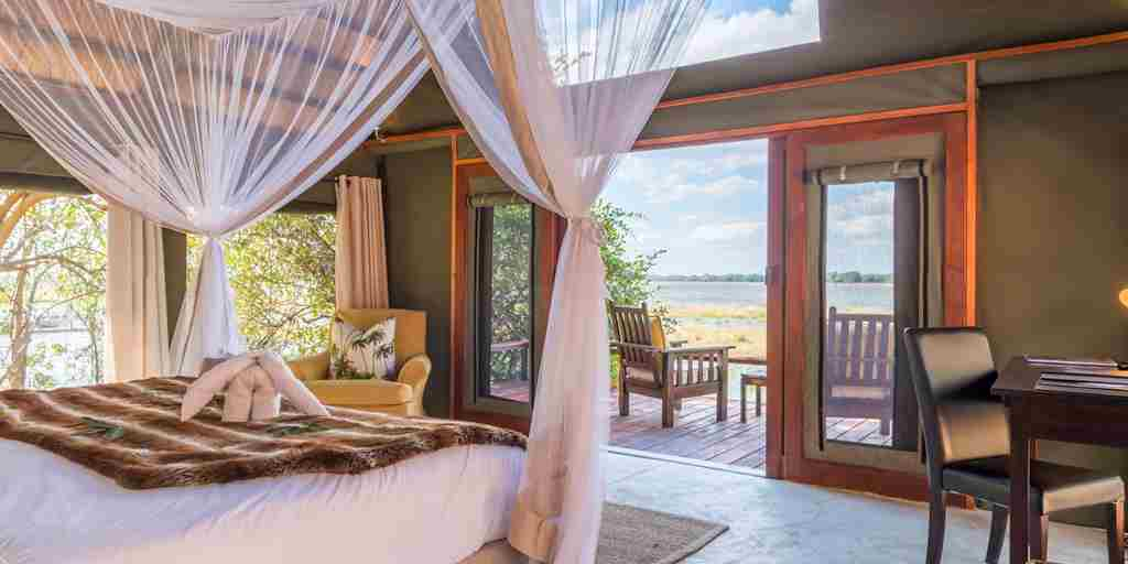 royal zambezi lodge bedroom view zambia yellow zebra safaris