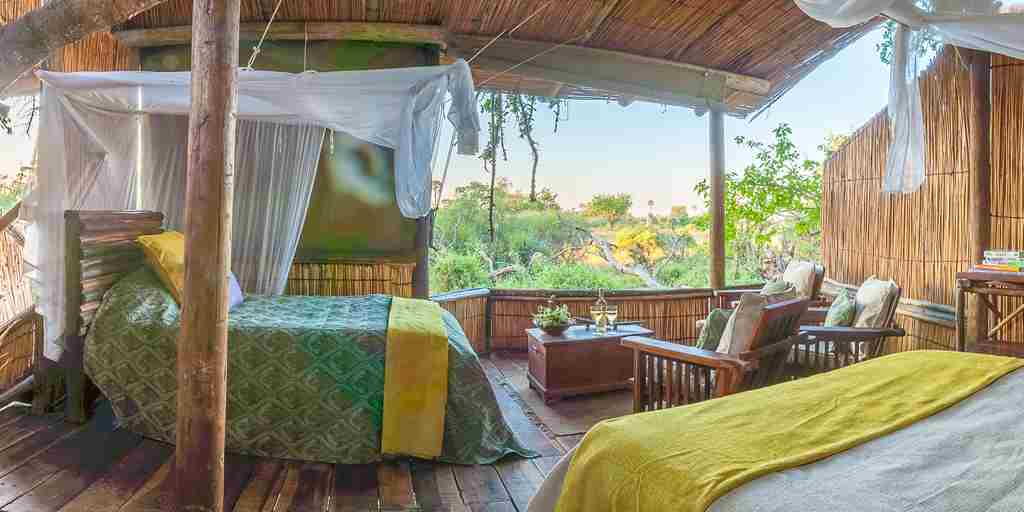 delta camp twin room botswana yellow zebra safaris