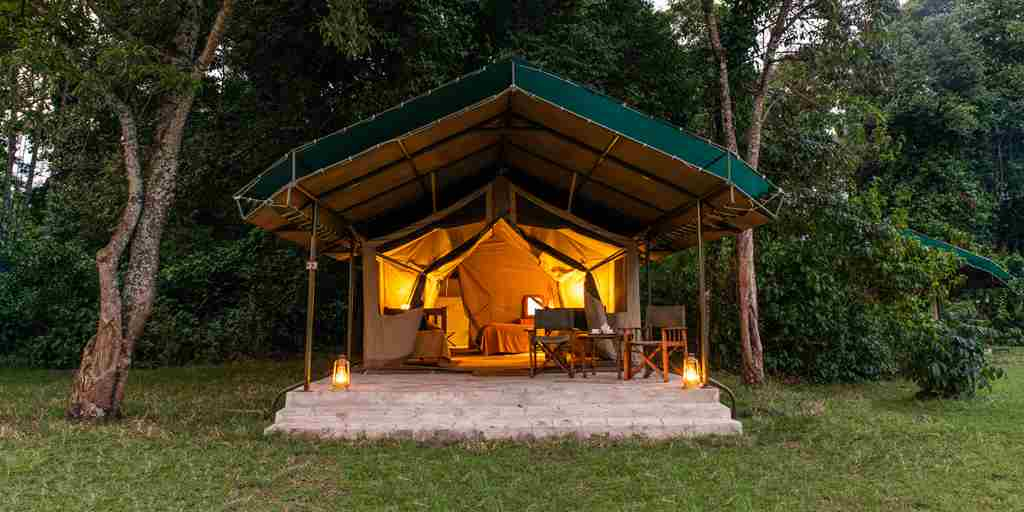 governors camp night exterior kenya yellow zebra safaris
