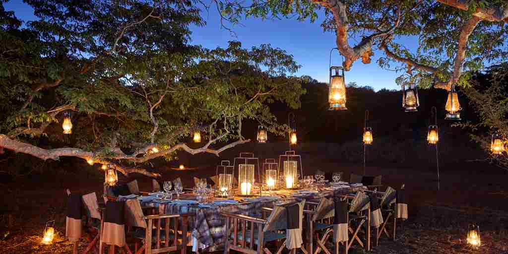 singita pamushana night dining zimbabwe yellow zebra safaris