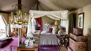 singita sabora tented camp bedroom tanzania yellow zebra safaris