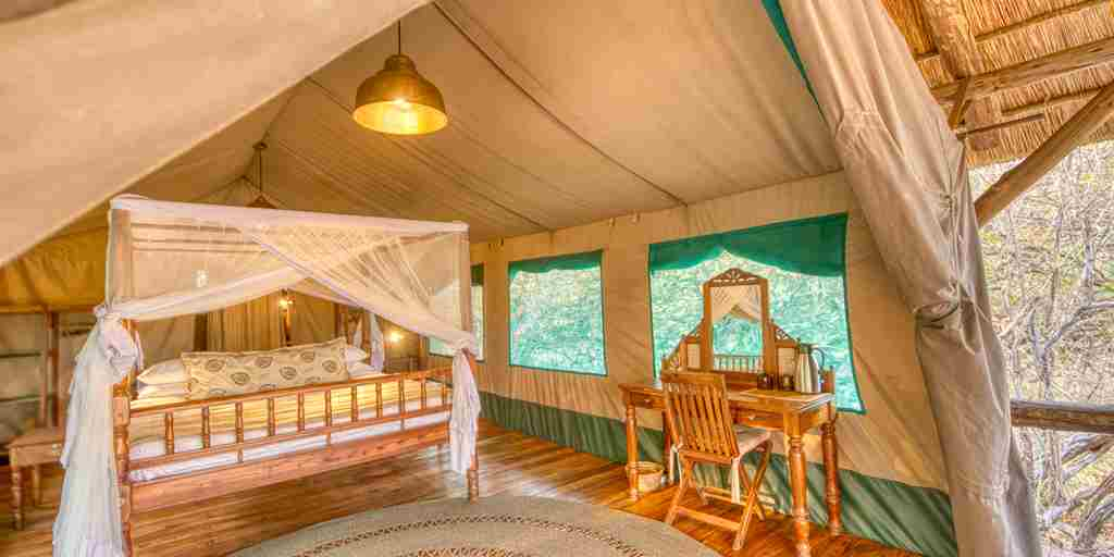 mbali mbali katavi double bedroom tanzania yellow zebra safaris