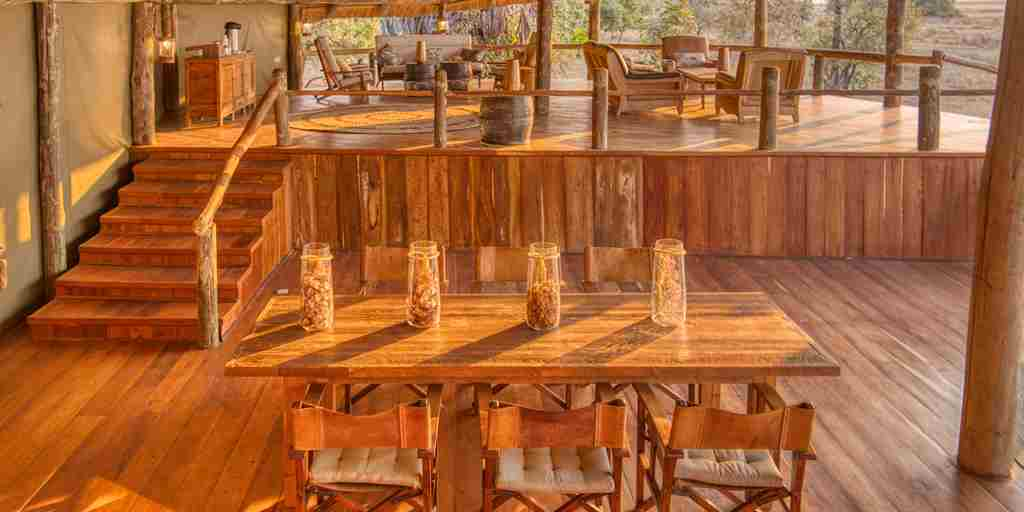 mbali mbali katavi indoor dining tanzania yellow zebra safaris