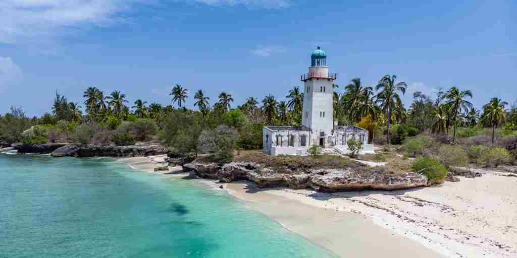 fanjove island lighthouse view tanzania yellow zebra safaris