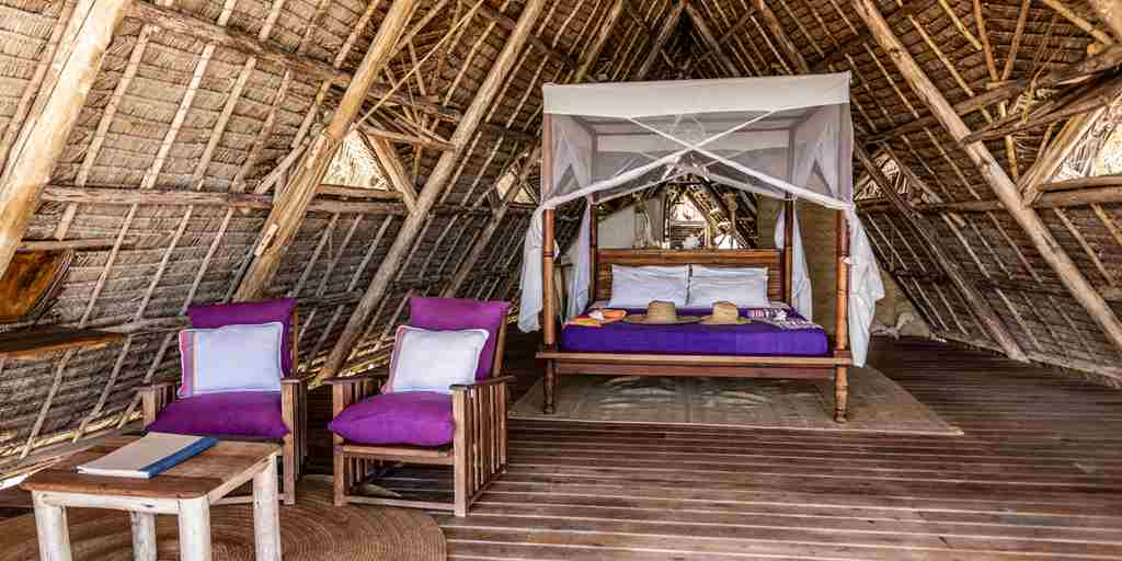 fanjove island double bedroom tanzania yellow zebra safaris