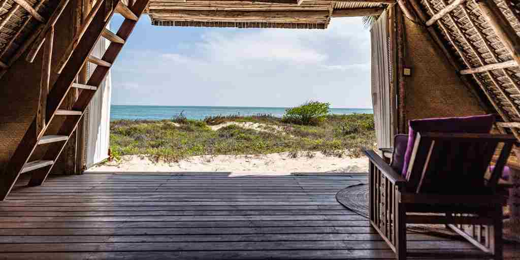 fanjove island bedroom view tanzania yellow zebra safaris
