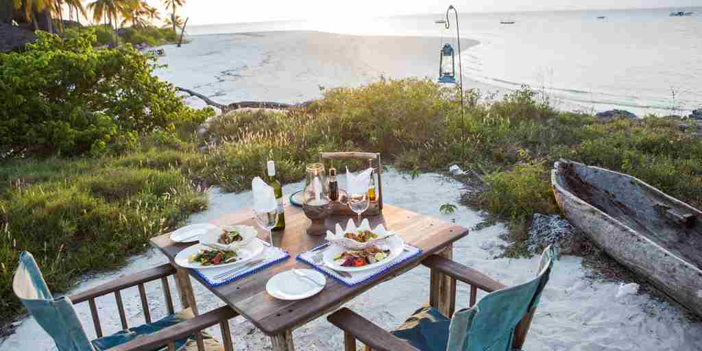 fanjove island beach dining tanzania yellow zebra safaris