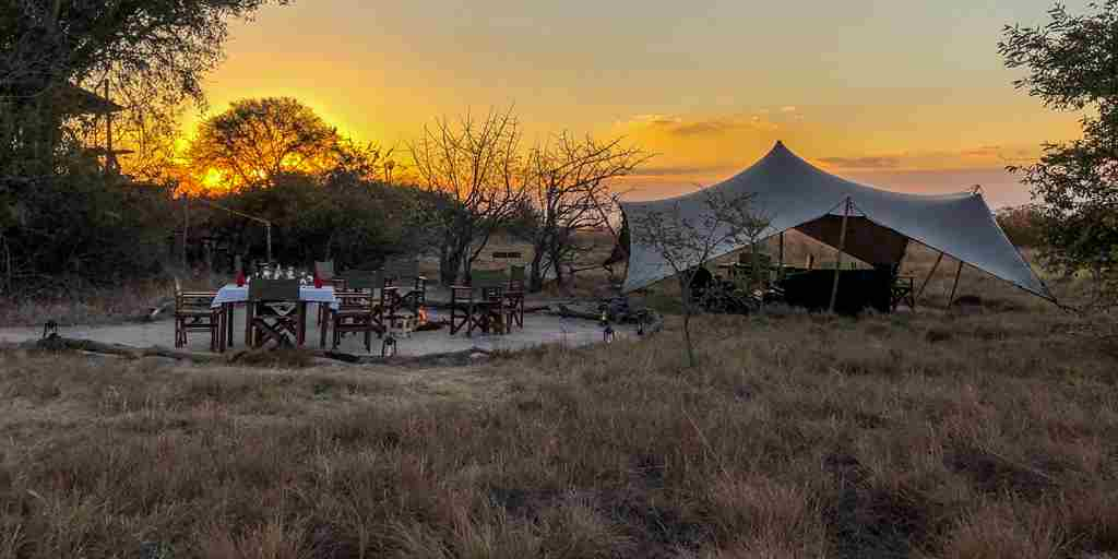 ntemwa busanga camp view sunset zambia yellow zebra safaris