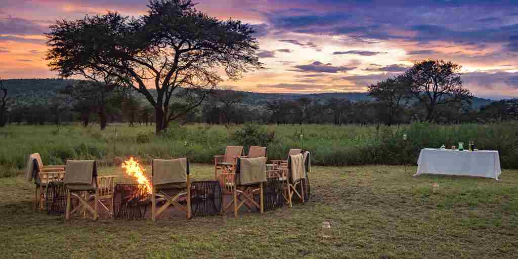 dunia camp sundowners tanzania yellow zebra safaris