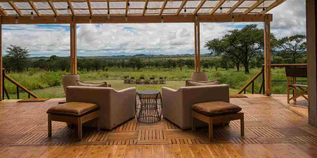 dunia camp lounge view tanzania yellow zebra safaris