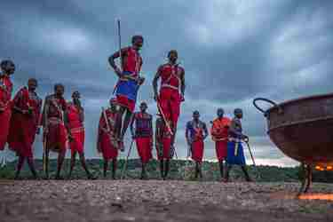 Maasai Mara tribe in Kenya with Yellow Zebra