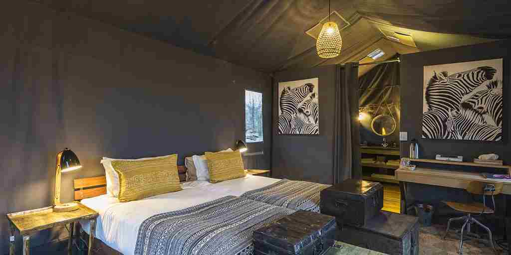 Guest bedroom at Linyanti Tented Camp