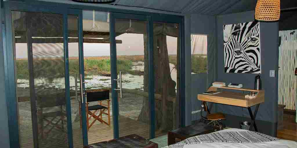 Guest tent at Linyanti Tented Camp, Botswana
